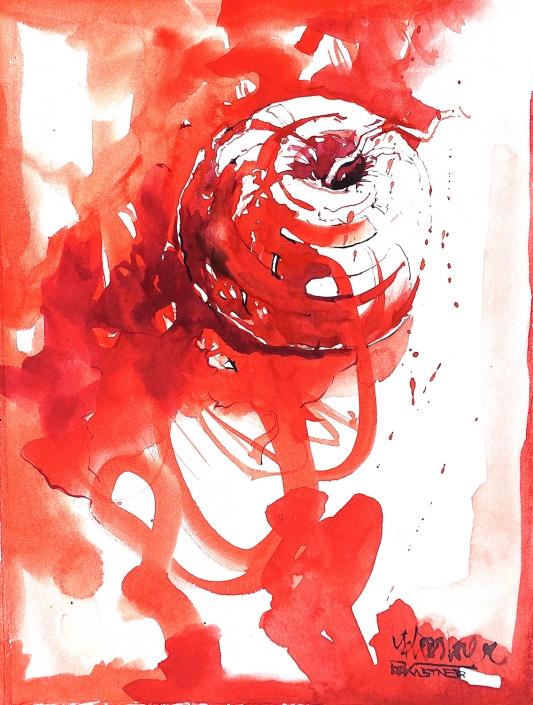 Erwin Kastner Aquarell Apfel rot
