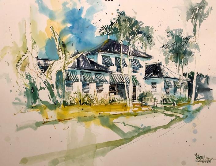 Erwin Kastner Aquarell Round Hill Jamaika