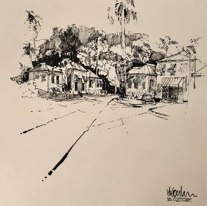 Erwin Kastner Tuschpinsel Zeichnung Round Hill Jamaika