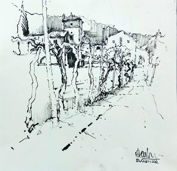 Erwin Kastner Tuschpinsel Zeichnung Bernadi