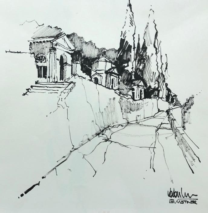 Erwin Kastner Tuschpinsel Zeichnung Monselice