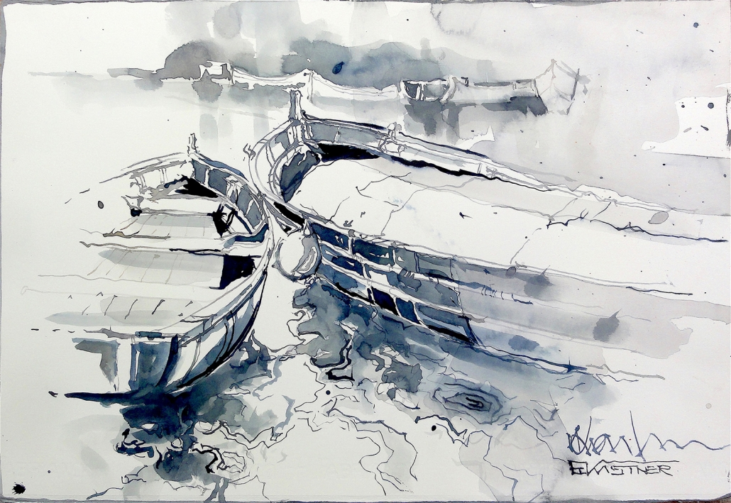 Erwin Kastner Aquarell Boot am See