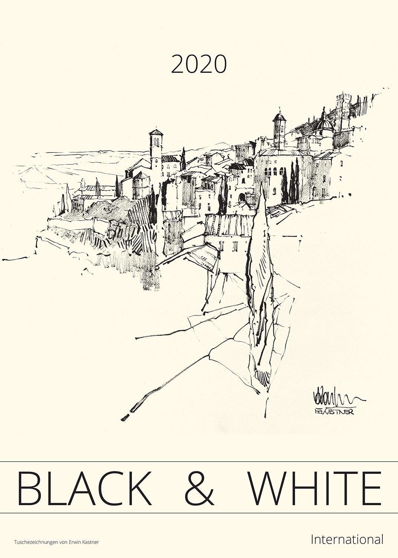 Erwin Kastner Kunstkalender 2020 Black & White Tuschpinselzeichnungen